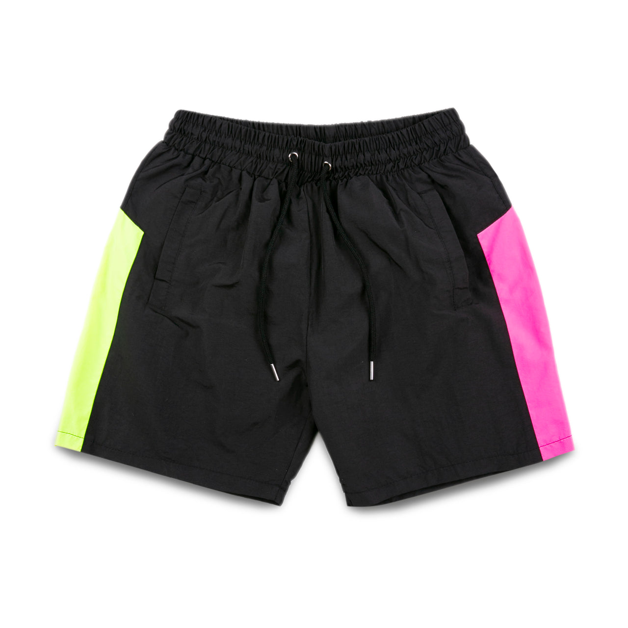 GAME Neon Yellow & Shocking Pink Striped Sport Shorts