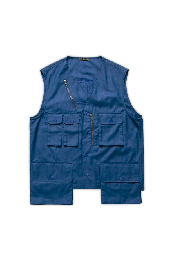 Multi Pockets Gilet - Corn Blue