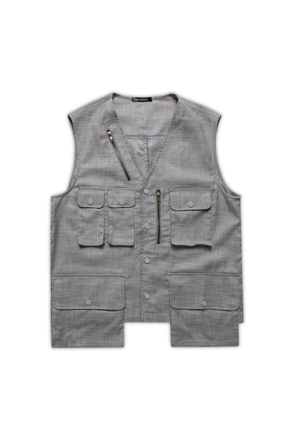 Multi Pockets Gilet - Cloud Gray