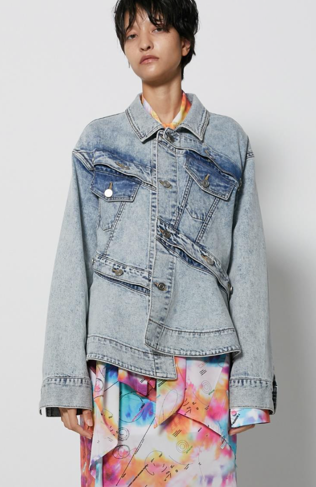Button Play Flared Cotton Denim Jacket