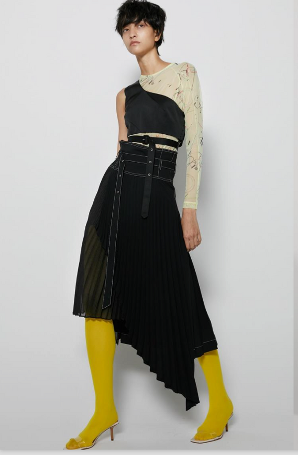 Contrast Stitched Asymmetric Pleated Wrap Skirt