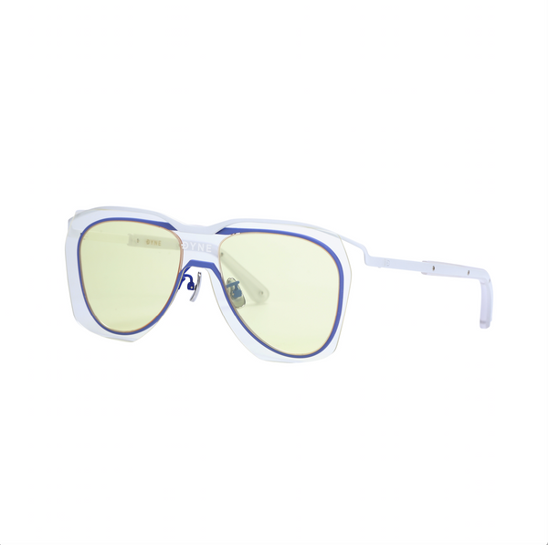 Matt White and Blue Coated Metal Frame Sunglasses with Yellow Layered Lens