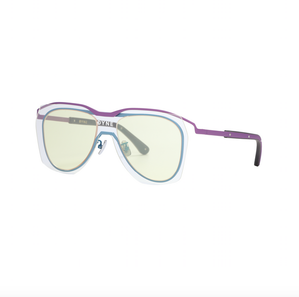 Matt Purple and Blue Coated Metal Frame Sunglasses with Yellow Layered Lens