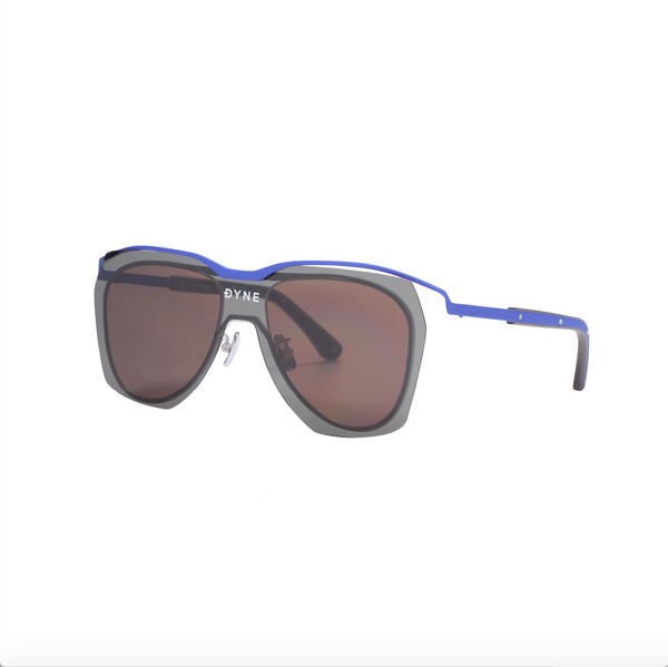 Matt Blue Coated Metal Frame Sunglasses with Dark Gray Layered Lens