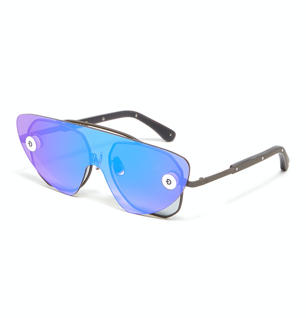 Matt Gray Metal Frame Sunglasses with Convertible Mirror Lenses