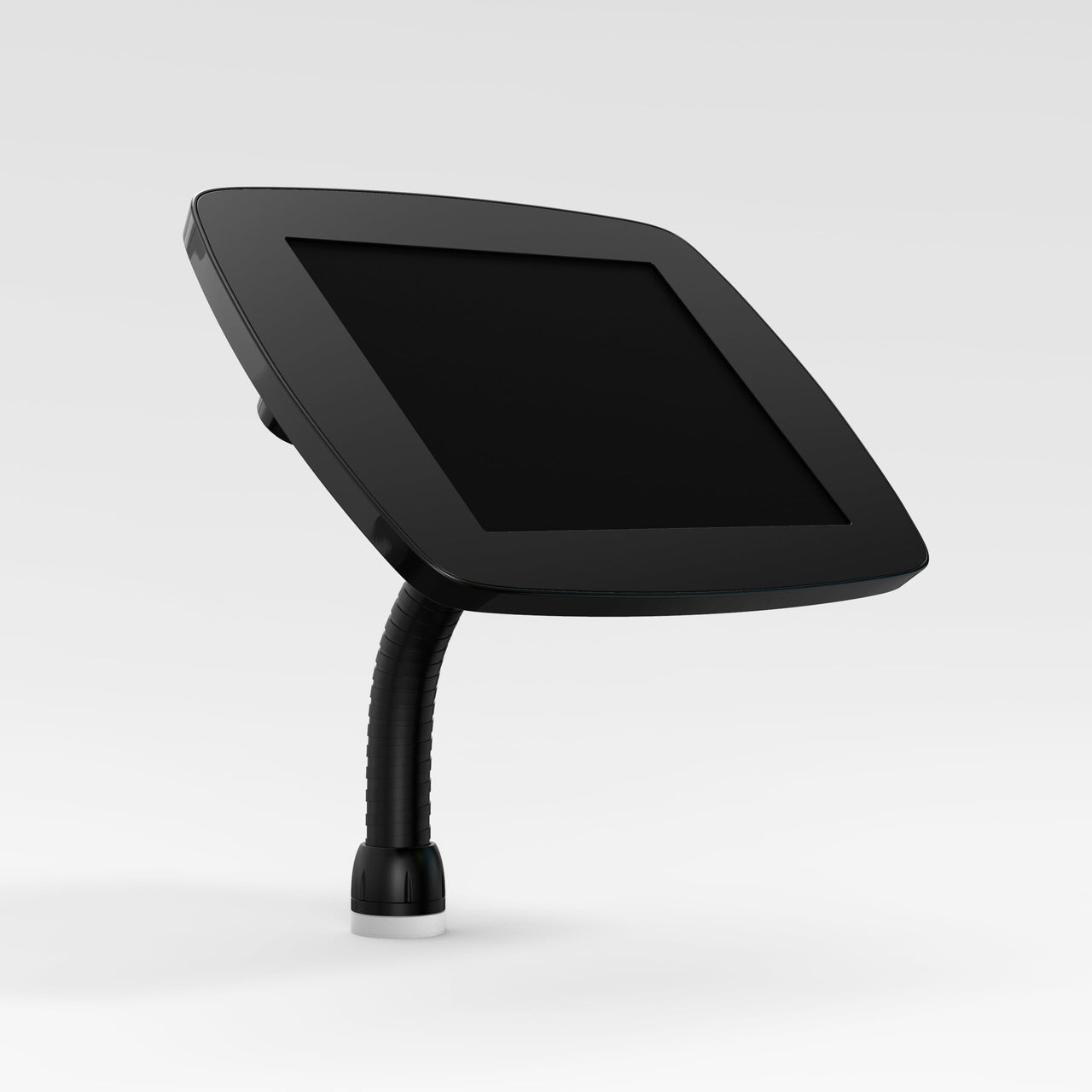 Bouncepad Flex - A secure tablet & iPad gooseneck stand in black.