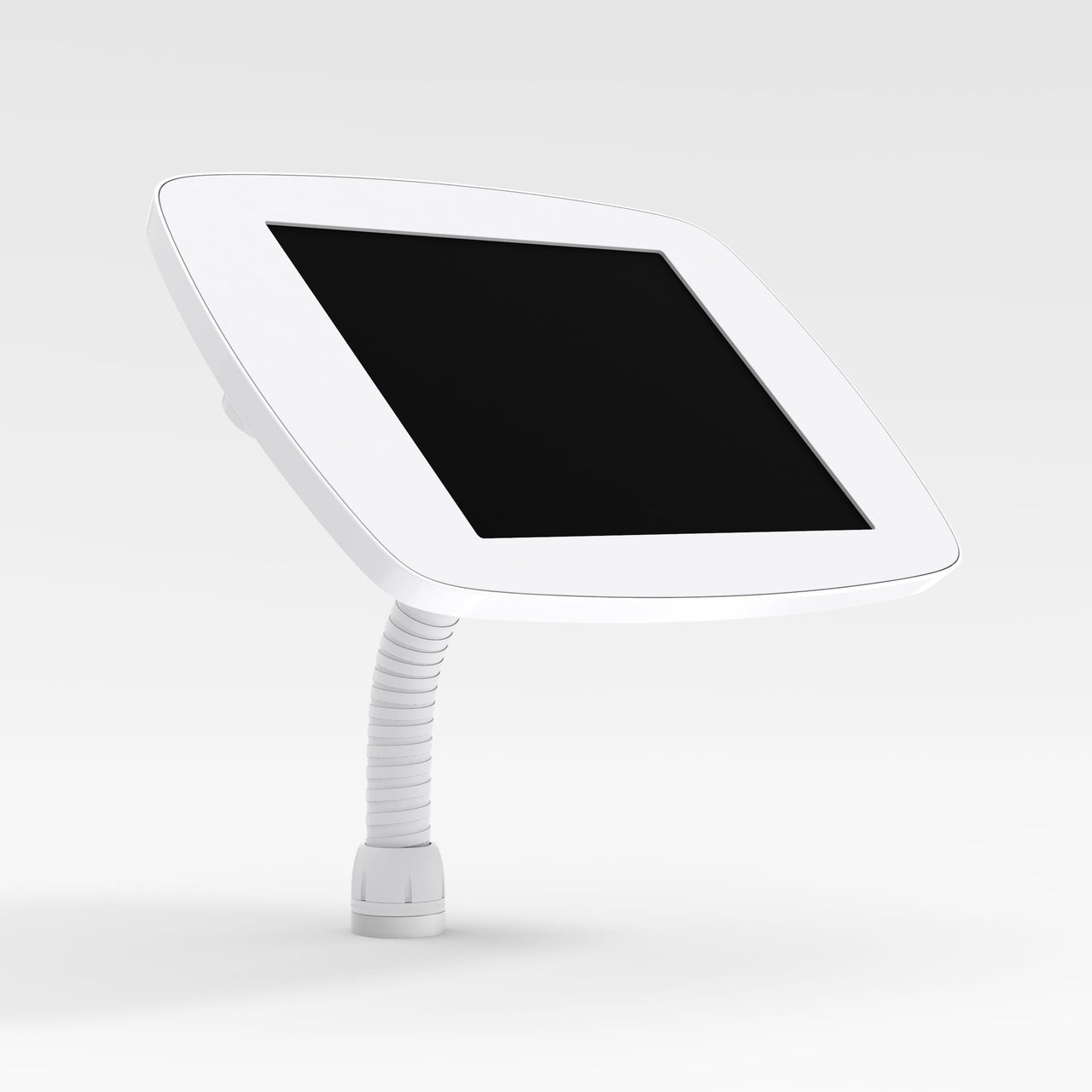Bouncepad Flex - A secure tablet & iPad gooseneck stand in white.