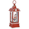 Glitter Red Barn Water Lantern with Stacked Farm Animals Rooster Lamb Pig Cow