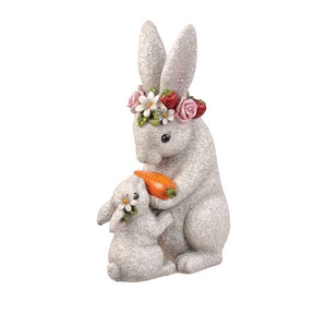 Bunny Mama and Baby Garden Statue
