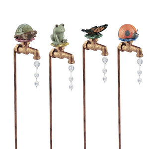 Faux Faucet with Frog, Turtle Butterfly, Ladybug Plant Stake