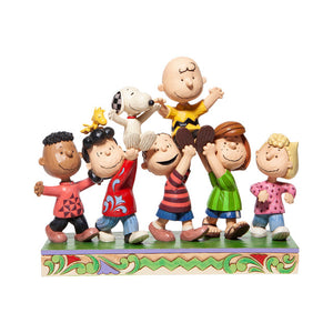 Jim Shore by Enesco A Grand Celebration 70th Anniversary Peanuts Gang with Snoopy, Charlie Brown, Peppermint Patty, Linus, Lucy, Sally and Franklin Figurine