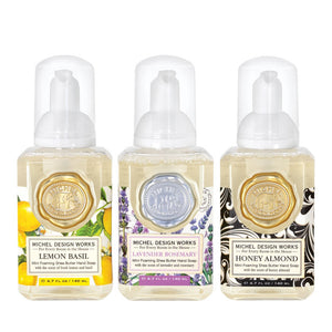 Michel Design Works Mini Foaming Hand Soap Set Includes: Lemon Basil, Lavender Rosemary, Honey Almond