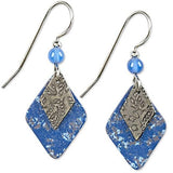 Silver Forest Layered Blue Diamond Drop Earrings