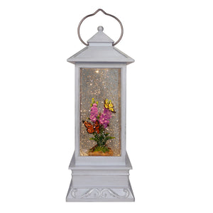 Glitter White Water Lantern with Butterfly