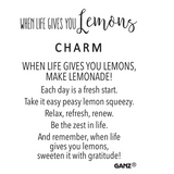 TOKEN CHARM WHEN LIFE GIVES YOU LEMON