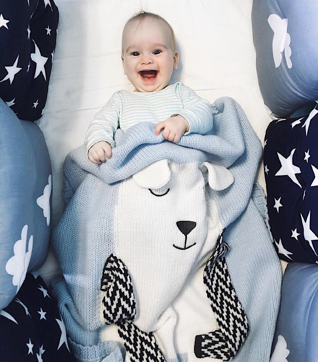 【Apero】BEAR Blanket (Light Blue) - Premium Baby Gift