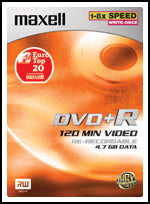Maxell DVD+R 5-pack with cases