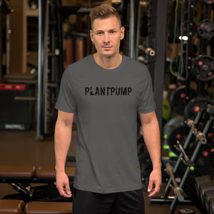 Plantpump unisex t-shirt rugged text (asphalt)