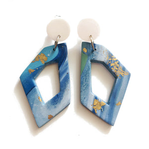 Gold Foil Marble Geometric Dangles (Blue)