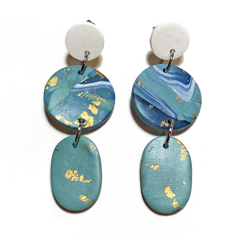 Gold Foil Marble Oval Drop Dangles (Blue)