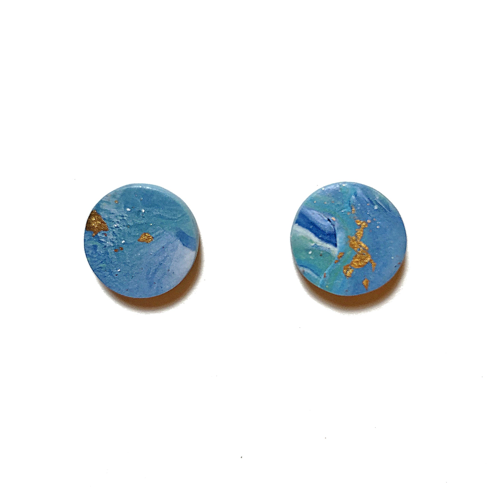 Gold Foil Marble Round Studs (Blue)