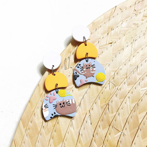 Feline Friends Geometric Tiered Dangles