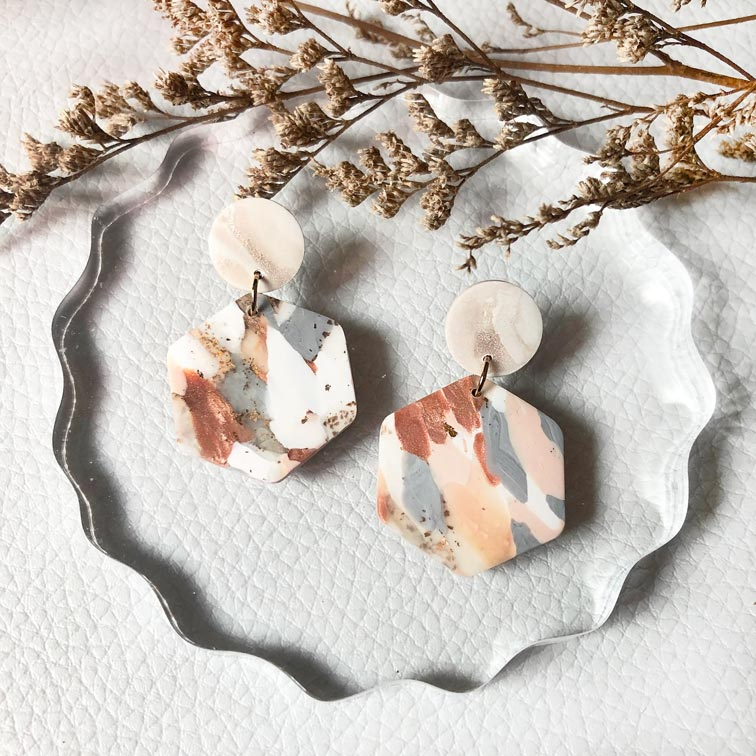 Copper Quartz Hexagon Dangles