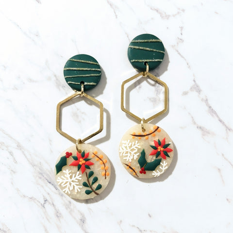 Holly Jolly Hexagon Tiered Dangle