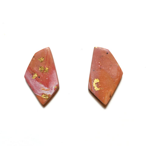 Gold Foil Marble Geometric Studs (Orange)