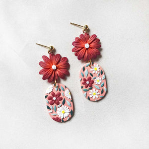 Oriental Charm Oval Dangles (Deep Red)