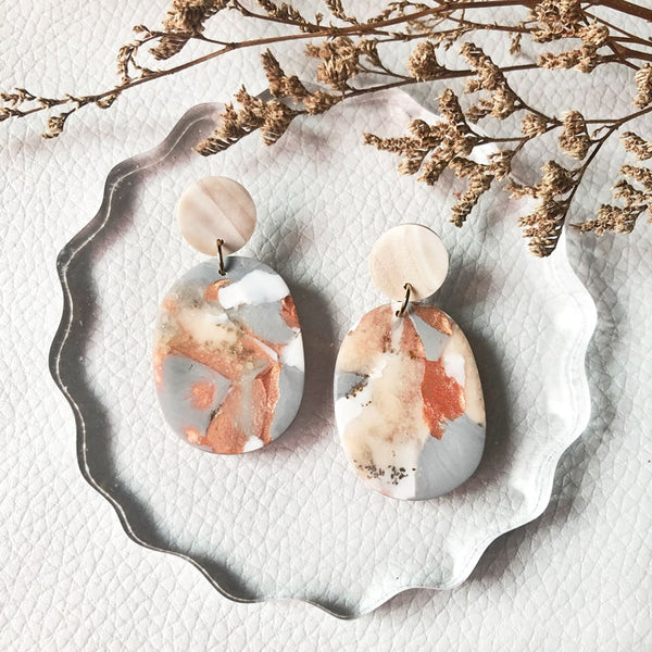 Copper Quartz Organic Oval Dangles