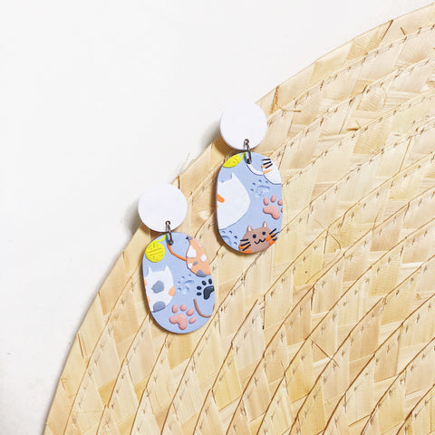Feline Friends Oval Dangles