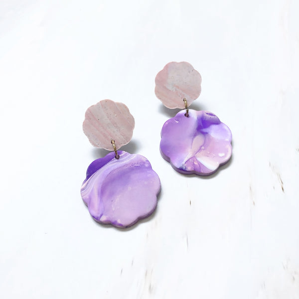 Agate Floral Tiered Dangles