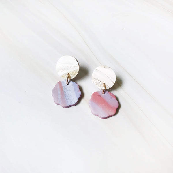Agate Mini Floral Dangles (Pink-purple)