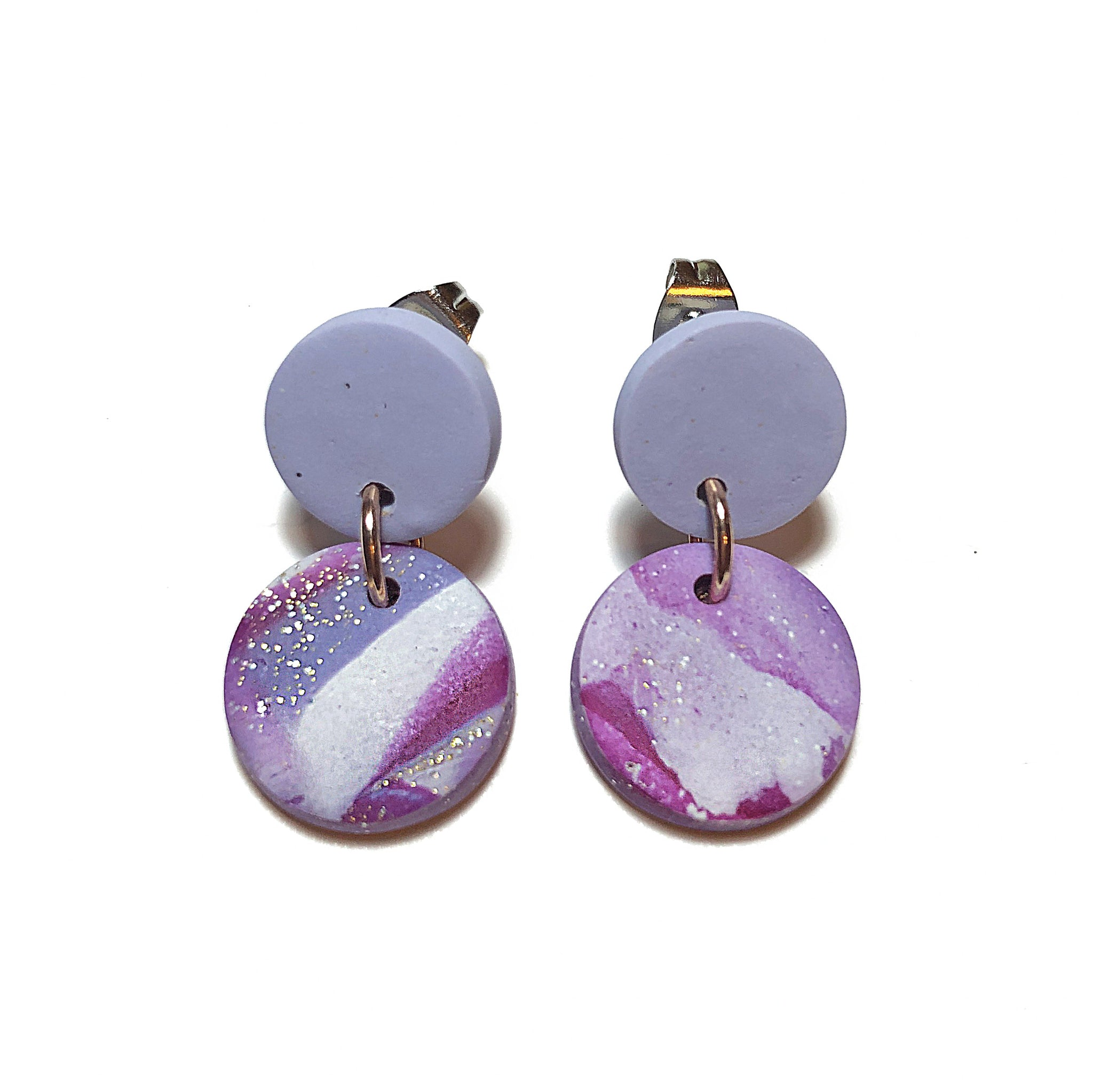 Shimmer Marble Mini Round Dangles