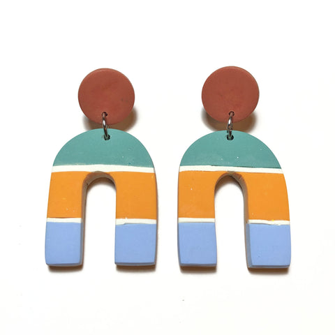 Multi-colour Arch Dangles (Green/Orange/Blue)