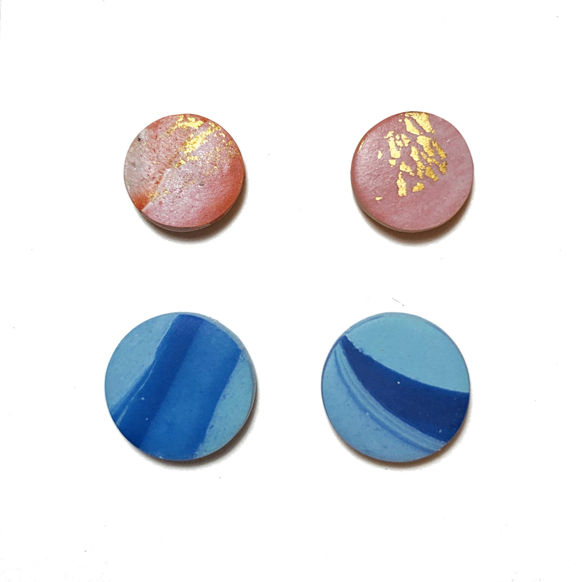 Gold Foil Marble Round Stud Pack
