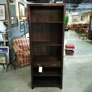 Dark Wood Book Case w/One Burled Front Drawer