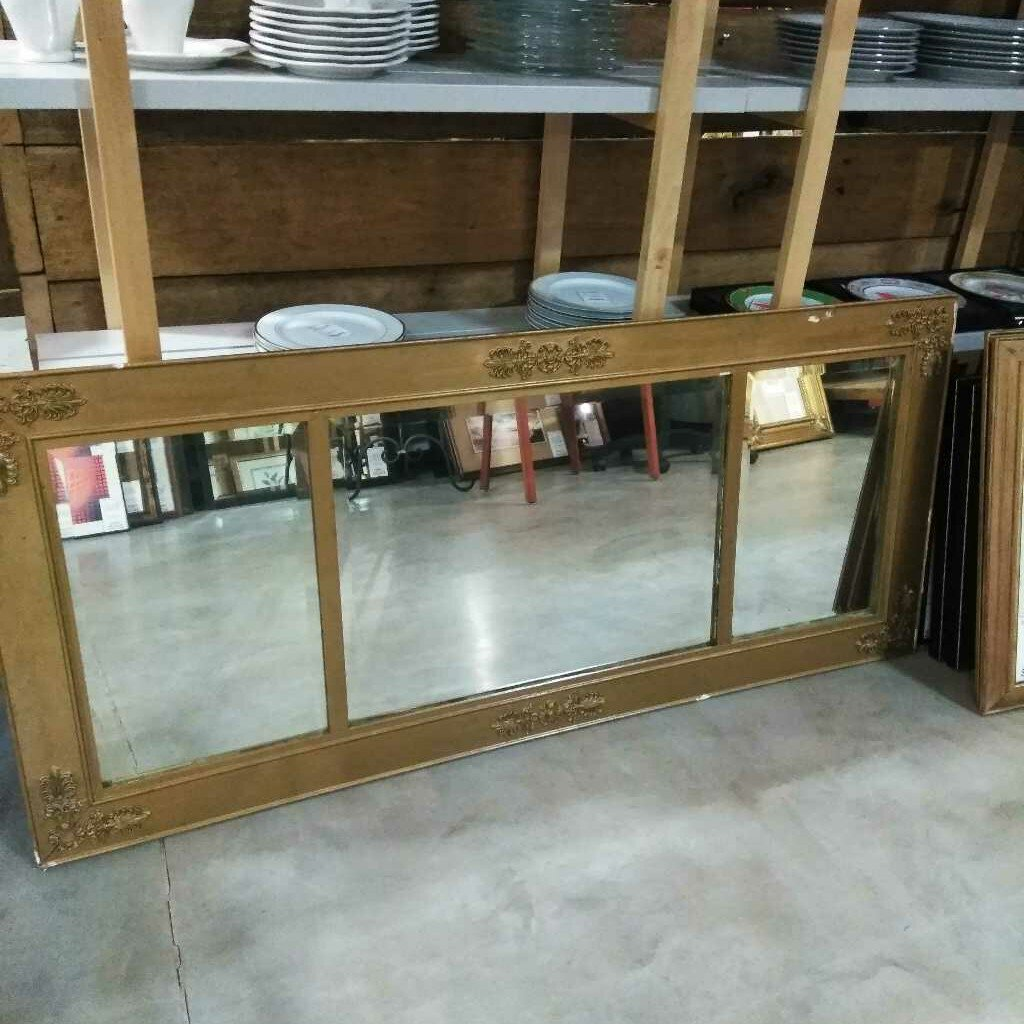 Beveled Three Panel Mirror in Gold Frame