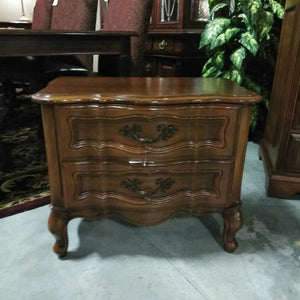 Two Drawer Curved Front Night Stand