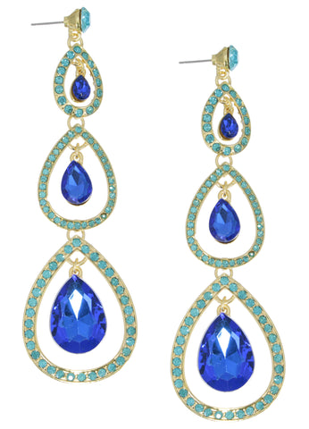 Grand Peacock Crystal Earrings