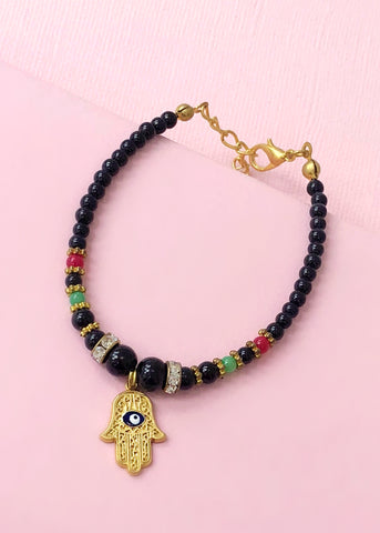 Black & Gold Hamsa Bracelet - Made in Turkey