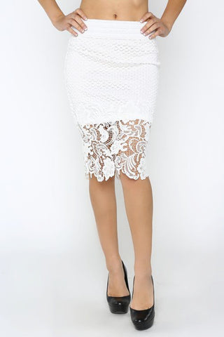 White Jasmine Lace Skirt