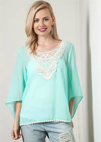 Mint Lace Blouse