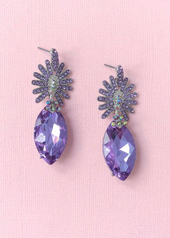 Lavender Starburst Crystal Earrings