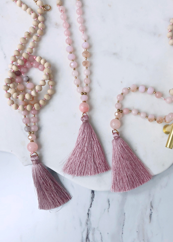 Mauve Tassel Quartz Mala Necklace