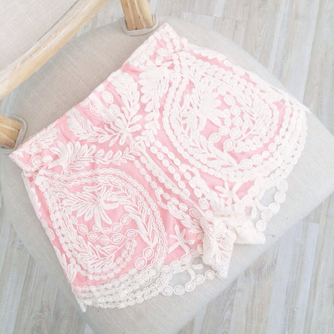 Romantic Pink Lace Shorts