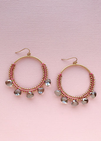 Grecian Beaded Hoop Earrings