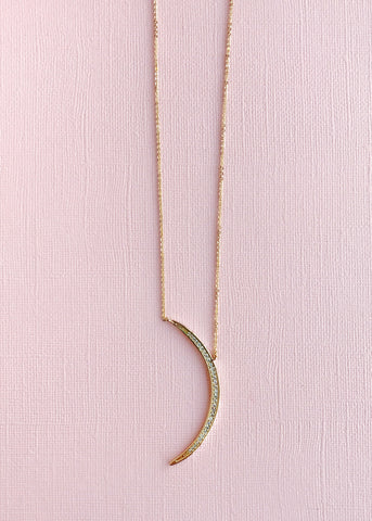 Gold Crystal Moon Necklace