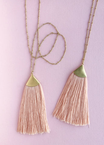 Peachy Gold Tassel Necklace